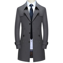 Thoshine Brand Spring Autumn Men Long Trench Coats Superior Quality Buttons Male Fashion Outwear Jac