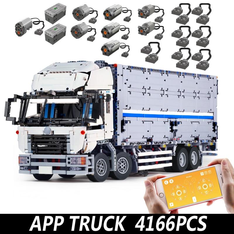 Bloques de construcción para contenedor de ciudad, vehículo transportador, camión, lepining, 23008, juguete técnico Diy para ladrillos para chicos, juguetes, regalos de navidad