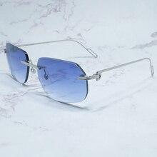 Óculos de sol de metal homem sem aro do vintage óculos de sol máscaras carter desinger marca acessórios de verão produto tendência
