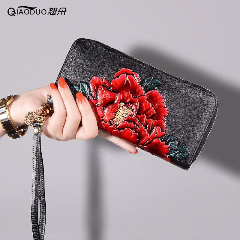 2020 neue Stil Leder Brieftasche frauen Lange Blume Zipper Karte Clamp Leder Brieftasche Multifunktions Handtasche Kupplung