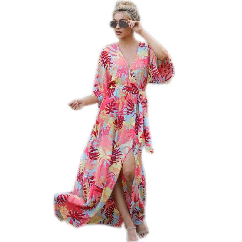 Primavera, verano, vestido, vestido con estampado en V profundo y vestido con abertura grande