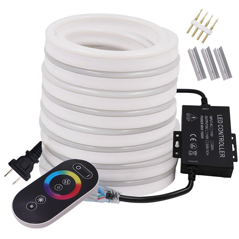 Neon Light LED Strip RGB Neon Sign 220V 110V Flexible LED Rope Light Touch Remote Control 5050 2835 LED String Lamp EU US UK Set