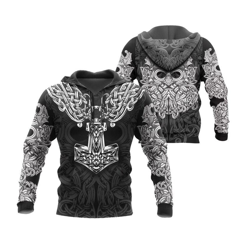 PLstar Cosmos crazy patrón guerrero vikingo tatuaje 3D impreso hombres hoodies Harajuku Sudadera con capucha otoño moda hoodie top-19
