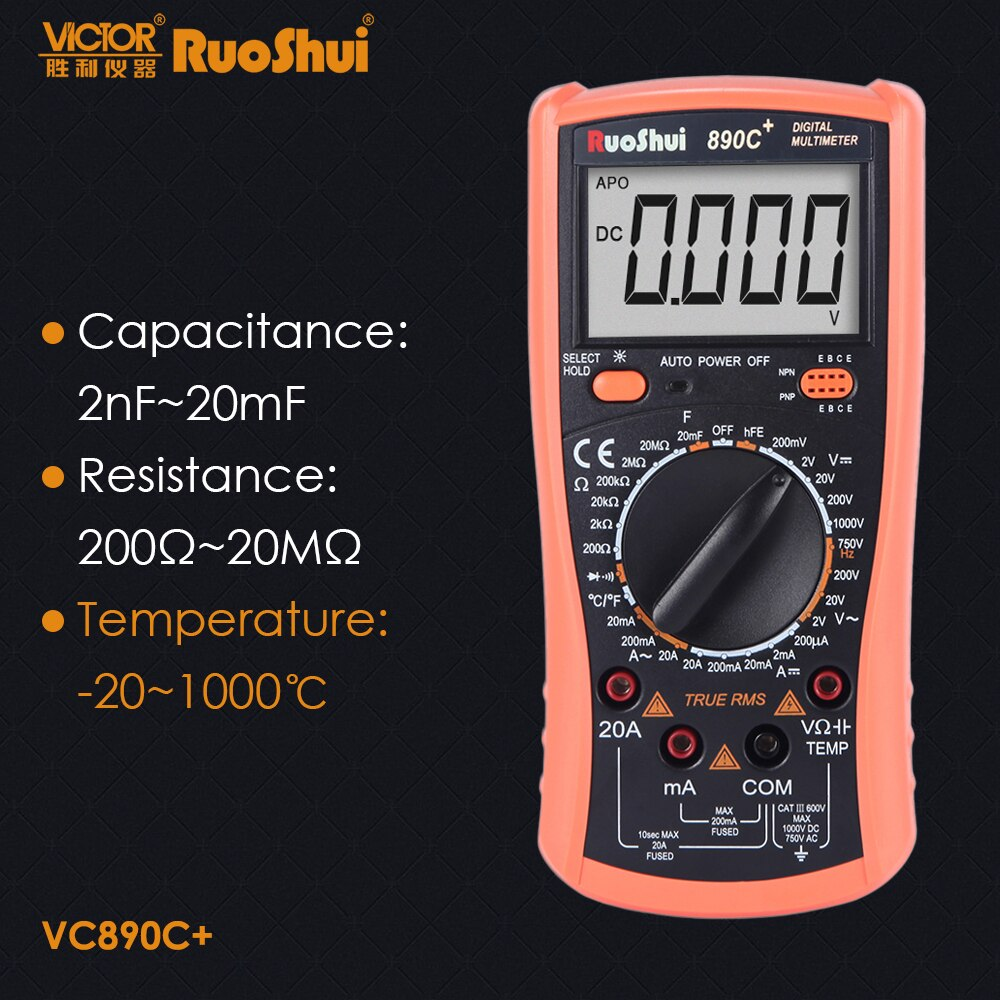 Ruoshui vc890c victor multímetro digital rms verdadeiro capacitância resistência temperatura transistor multimetro testador elétrico