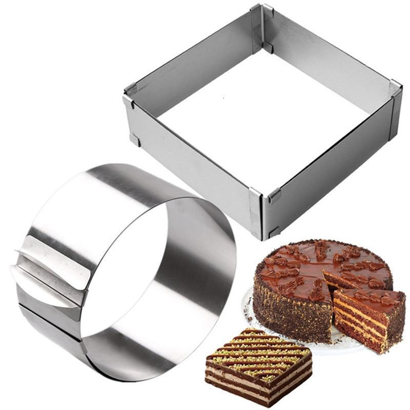 Moule à gâteau rétractable en acier inoxydable   1 pièce, anneau en Mousse 3D rond et carré, moule à gâteau Fondant, outils de cuisson de cuisine réglables