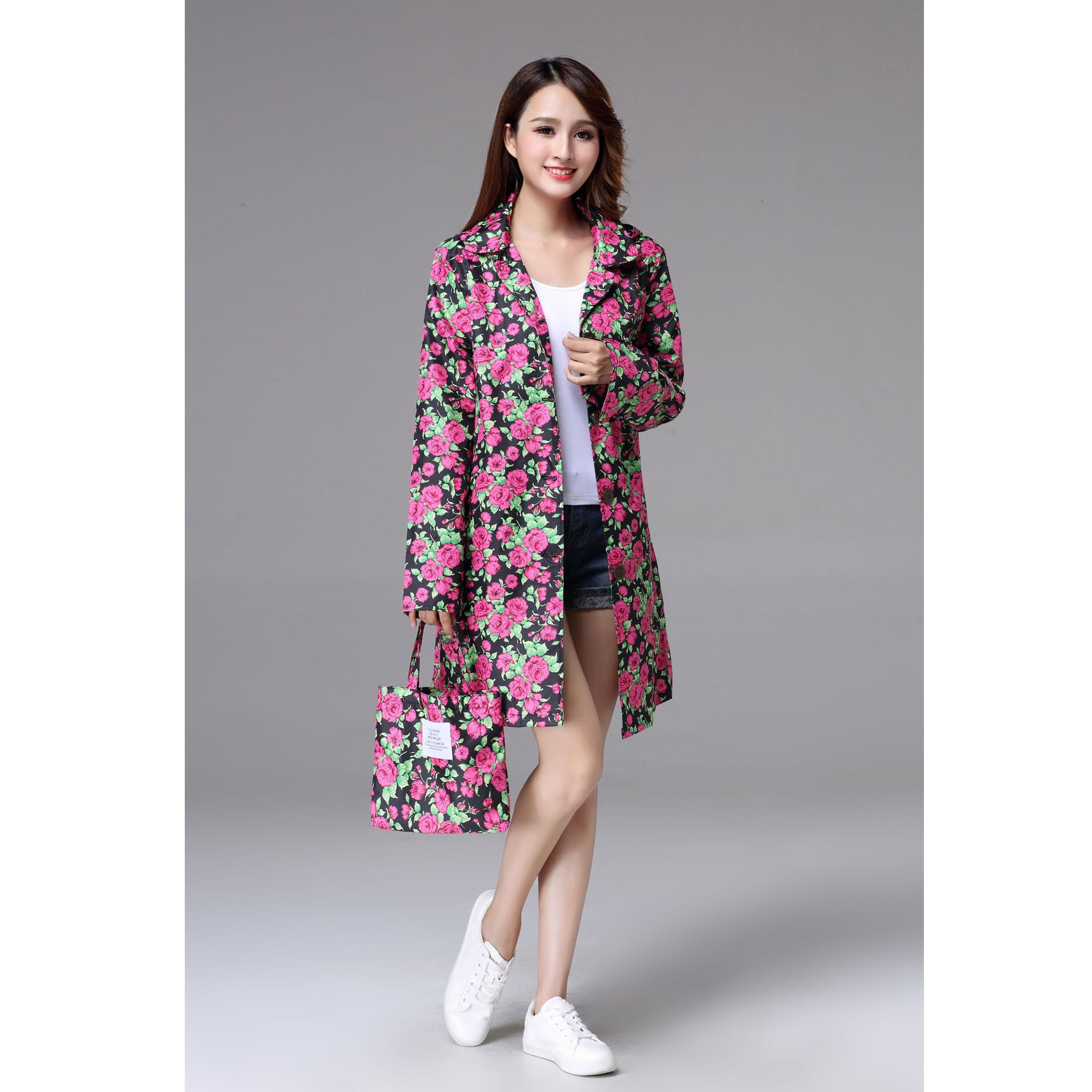 Red Rain Jacket impermeable  Women Raincoat Hiking   Fashion Rain Coat 190T Nylon Fabric  Rain Jacket Girls
