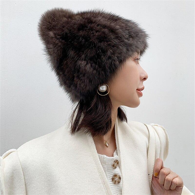 2021 New Style 100% Real Mink Fur Hat Women's Hood Snow Ski Hat Warm Earmuffs Winter Mink Fur Hat