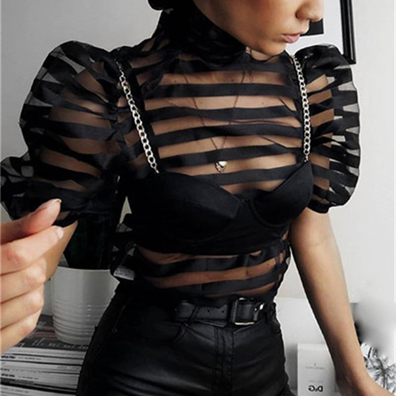 Elegant OL Women Mesh Sheer Back Bow Striped Puff Sleeve Shirt Blouse See Through Short Sleeve Party Clubwear Evening Tops Shirt