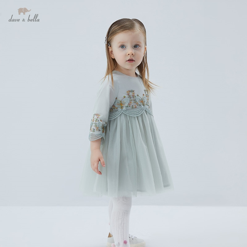 vestido de malha infantil db16614 vestido de festa infantil de primavera para meninas
