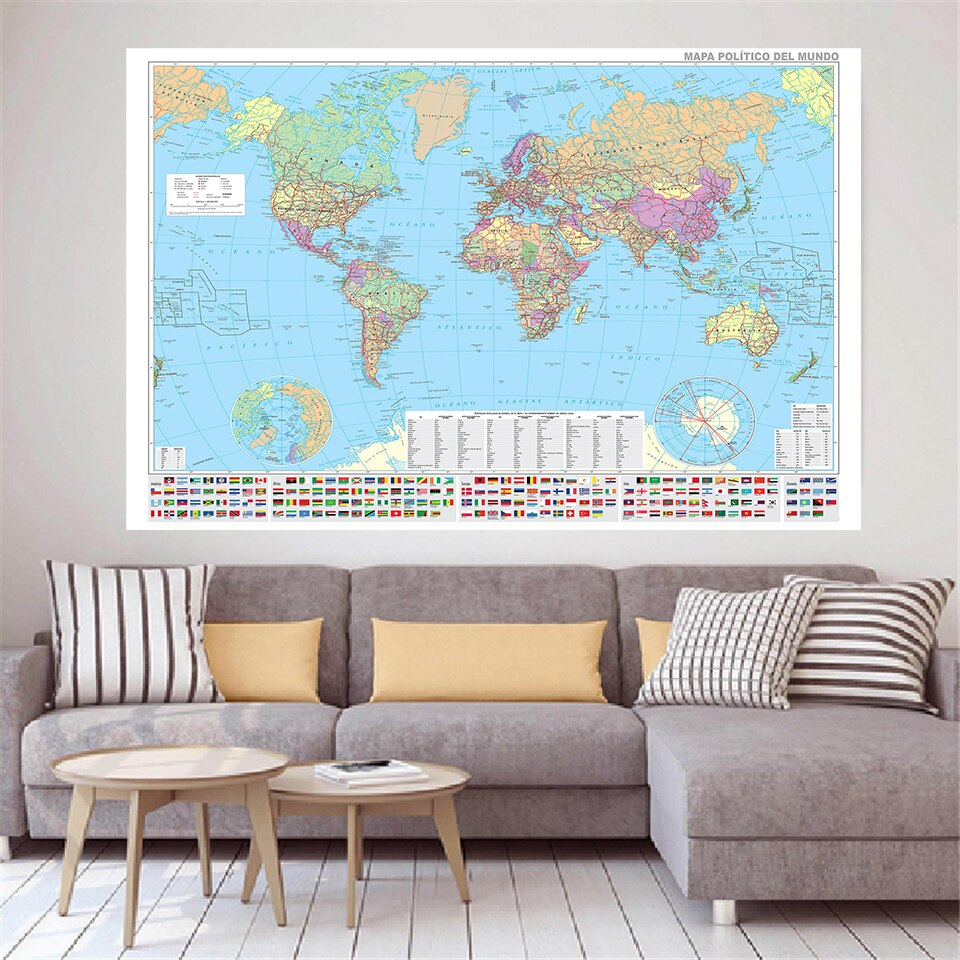 225*150cm In Spanish The World Political Map with National Flags Non-woven Canvas Painting Poster Home Decor School Supplies