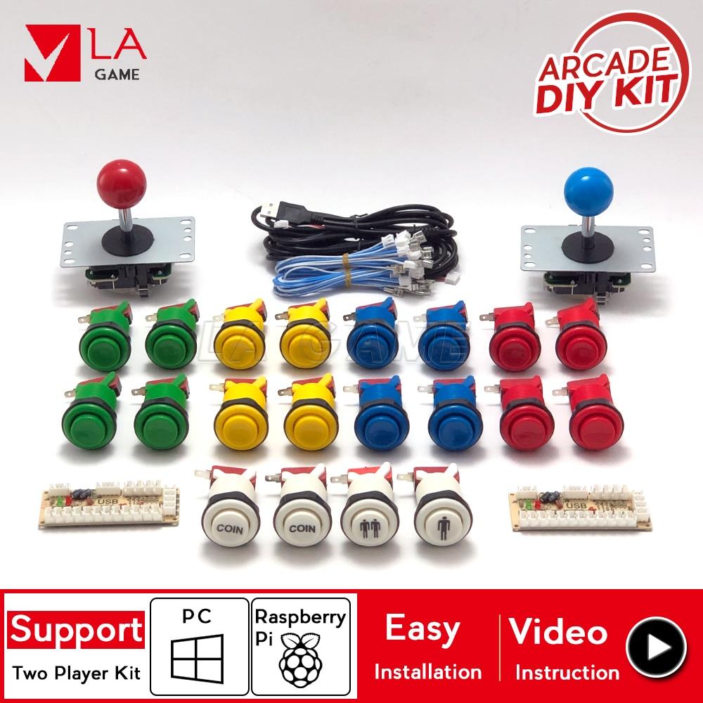 2 player kit arcade diy USB Encoder to PC Rasberry Pi happ button cabinet 5 pin 8 way joystick controller
