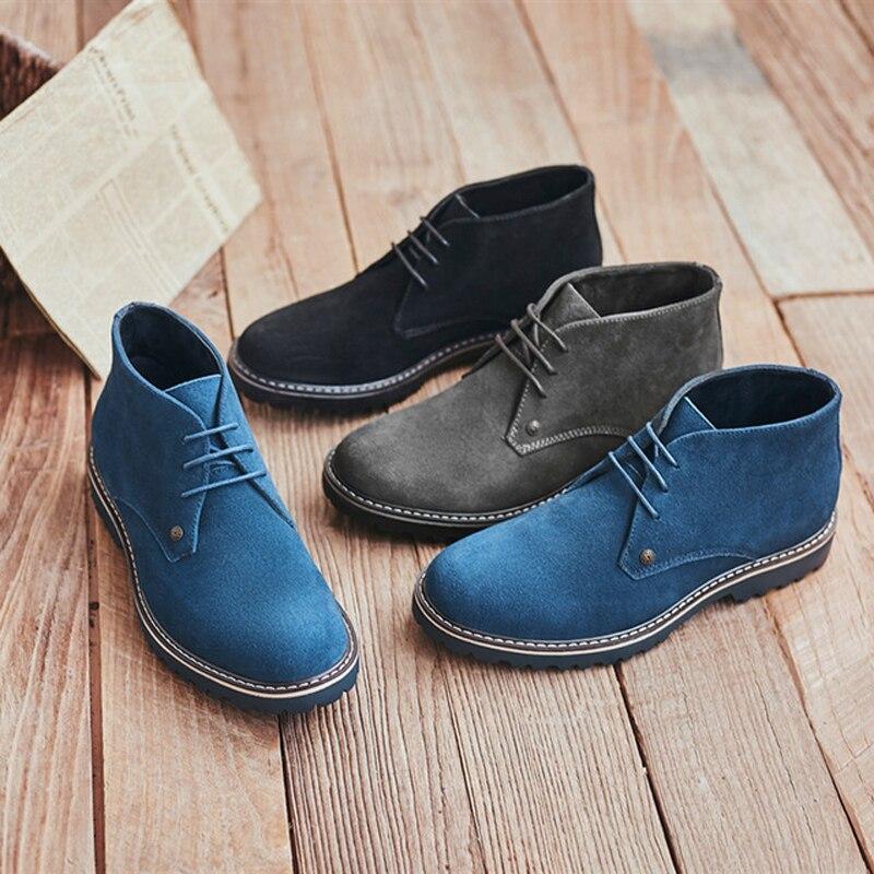 Lovirs homens de couro genuíno nuback martin botas chelsea ankle boots moda rendas até sapatos homem da motocicleta