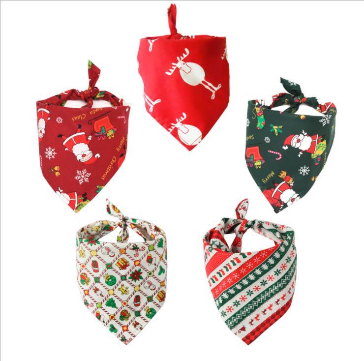 Pet Neckerchief Scarf Waterproof Christmas Cat dog bandana Bibs Scarf Collar Pet saliva towel cotton triangle towel