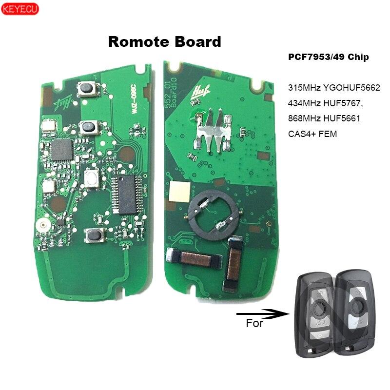 Placa remota esperta 315 mhz ygohuf5662 de keyecu, 433 mhz ygohuf5767, 868 mhz ygohuf5661 pcf7953 para bmw f series cas4 +/fem