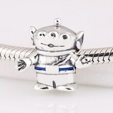 Authentic S925 Enamel Blue Toy Story Alien Bead Charmfit Pandora Bracelet Bangle DIY Jewelry