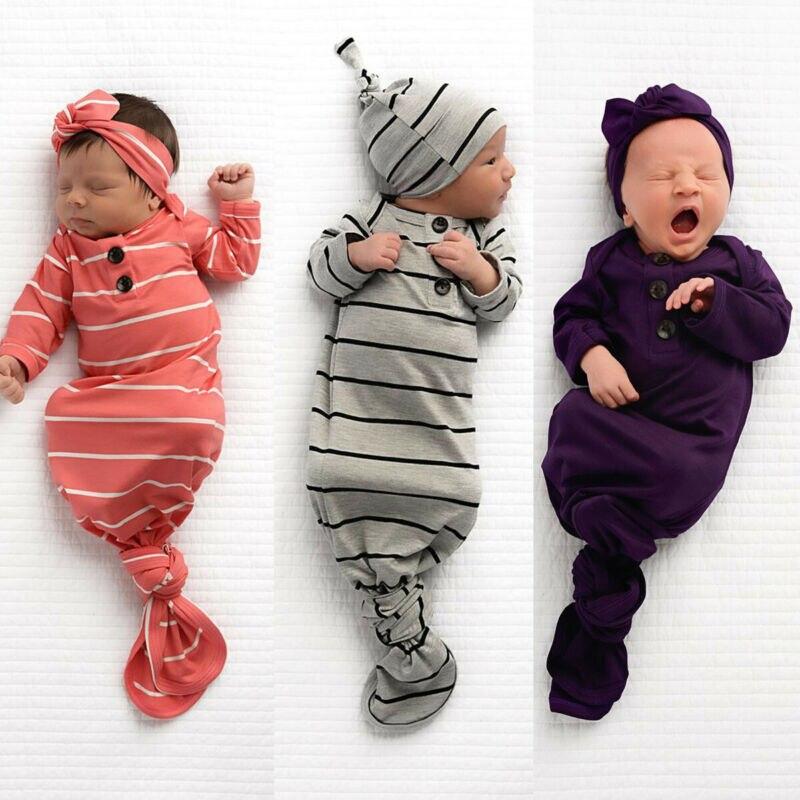 Bebé niño niña Unisex a rayas saco de dormir con sombrero recién nacido Infante otoño Casual suave algodón manga larga cuello redondo ropa de dormir