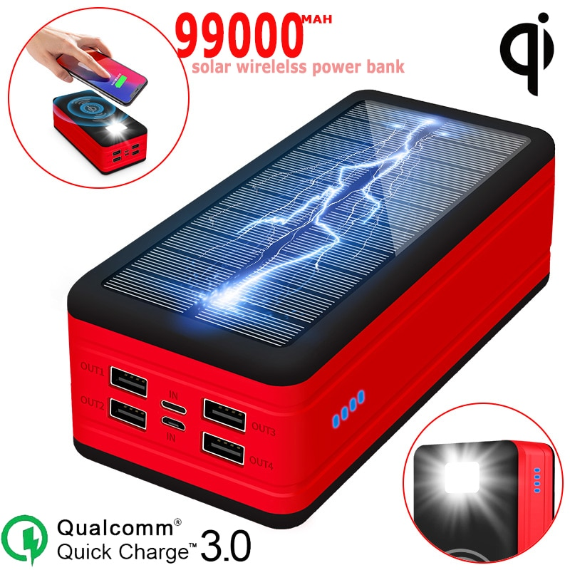 Solar Wireless Power Bank 99000mah Portable Charger Quick Charger SOS LED Light Rechargeable External Battery for Xiaomi Iphone