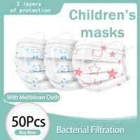 50 Pcs Cute Children Disposable Mouth Mask 3 Ply Non-Woven Protect Cartoon Bear Pattern Breathable Washable Anti-Haze Dust Masks