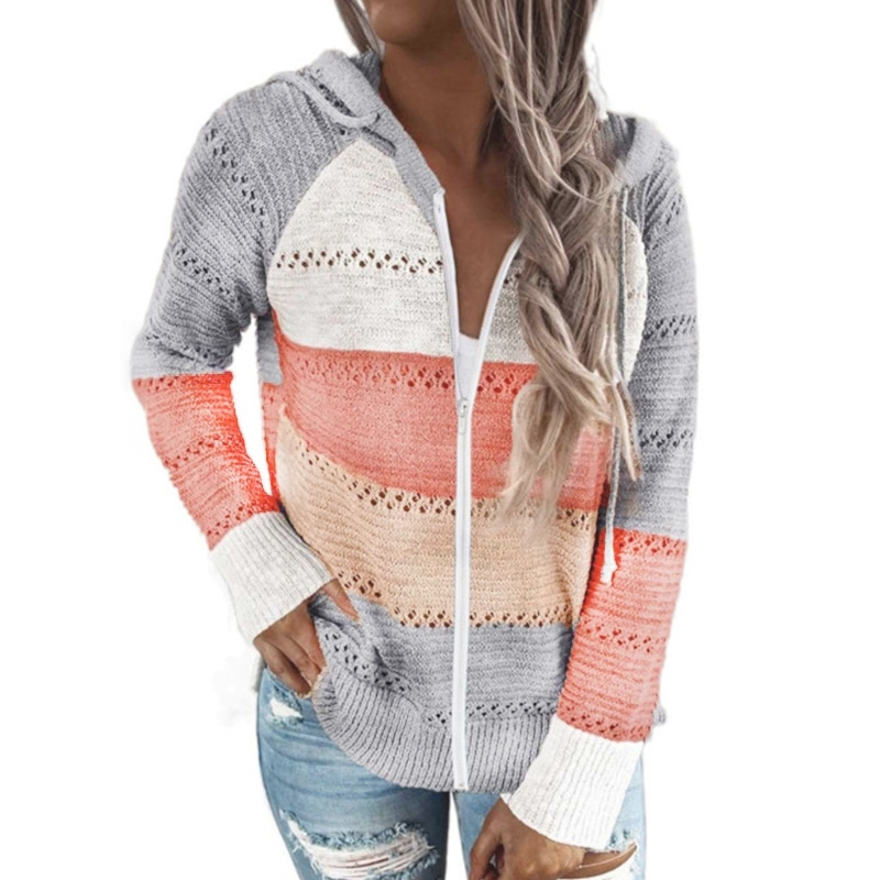 Women Long Sleeve Sweater Full Zip Up Hooded Jacket Color Block Knitted Cardigan enlarge