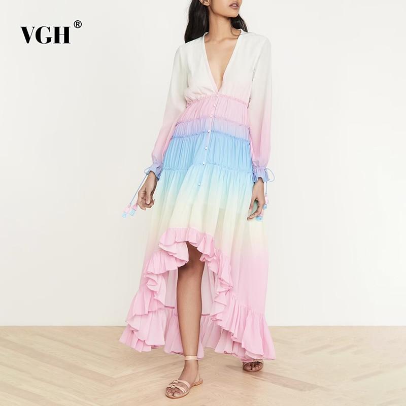 VGH ضرب اللون الدانتيل يصل فستان كاجوال للنساء الخامس الرقبة طويلة الأكمام عالية الخصر طباعة فساتين فضفاضة الإناث 2021 موضة جديدة الملابس