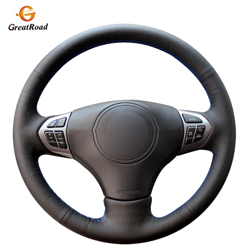 Protector de cuero Artificial PU de punto negro a mano para volante de coche para Suzuki Grand Vitara 2007-2013