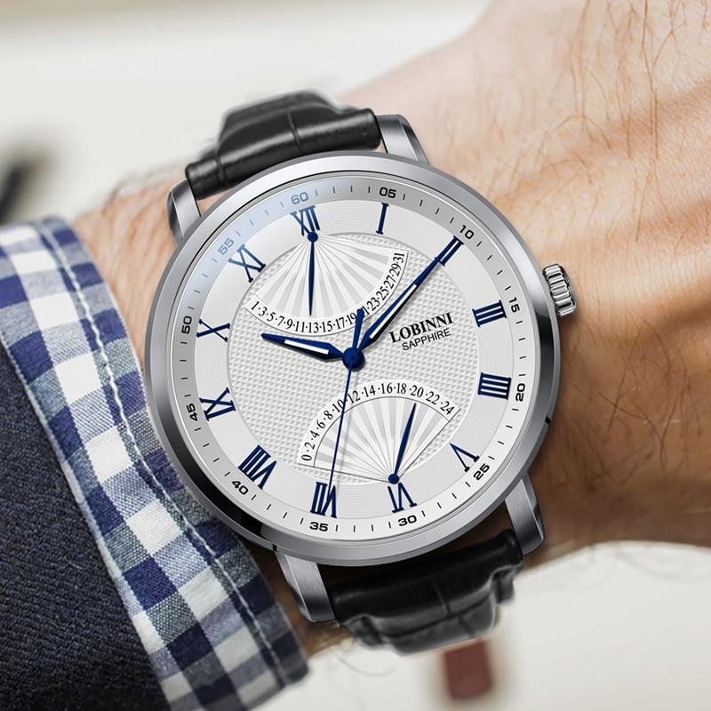 Marca de Luxo Safira à Prova Relógio Masculino Suíça Lobinni Dwaterproof Água Data Automática Reloj Hombre Japão Miyota Movimento L3602