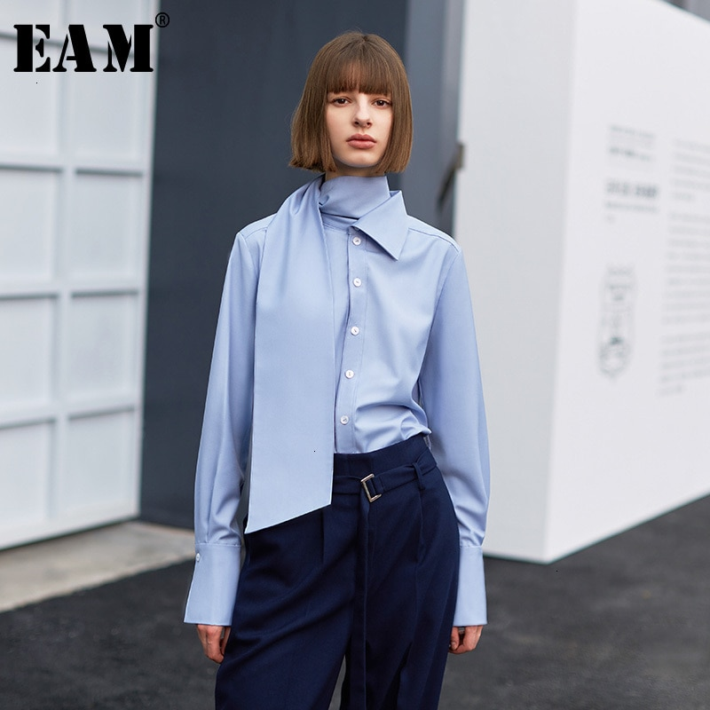 [EAM] Women Blue Temperament Bandage Blouse New High Collar Long Sleeve Loose Fit Shirt Fashion Tide Spring Autumn 2020 1H077