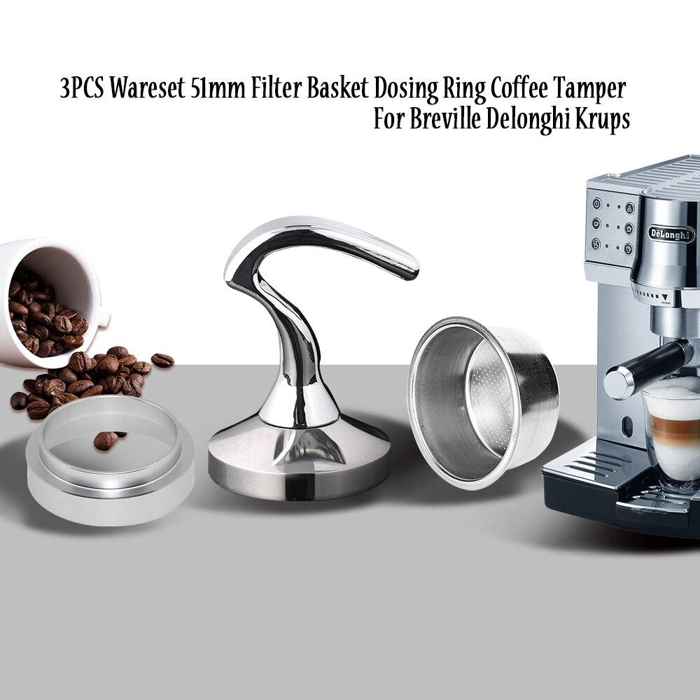 51 مللي متر Breville Delonghi الفولاذ المقاوم للصدأ إعادة الملء فلتر القهوة عبث الجرعات حلقة ل Breville Delonghi كروبس Coffeeware 3 قطعة