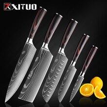 XITUO couteau de chef de haute qualité 7CR17 en acier inoxydable à haute teneur en carbone série japonaise couteau de cuisine 8 en modèle laser damas