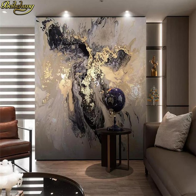beibehang Custom 3d wallpaper mural New chinese style abstract golden artistic conception landscape papel de parede