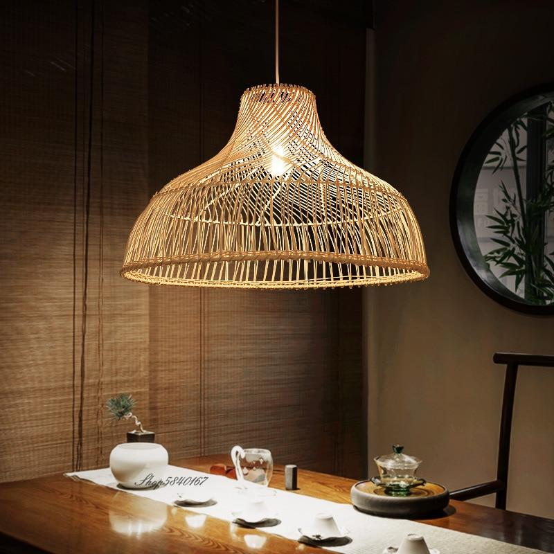اليابانية الروطان الثريا Vintage مزرعة نمط السقف الثريات الإضاءة Led أضواء لغرفة الطعام مطعم تعليق