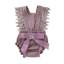 2021 0-18M Cotton Baby Girl Clothes Toddler Baby Girls Sleeveless Lace Bow Romper For New Born Infan