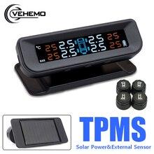 TPMS système de surveillance de pression des pneus   Solaire pour voiture universel, camion à affichage numérique, capteur de pression des pneus, jauge Tmps alarme
