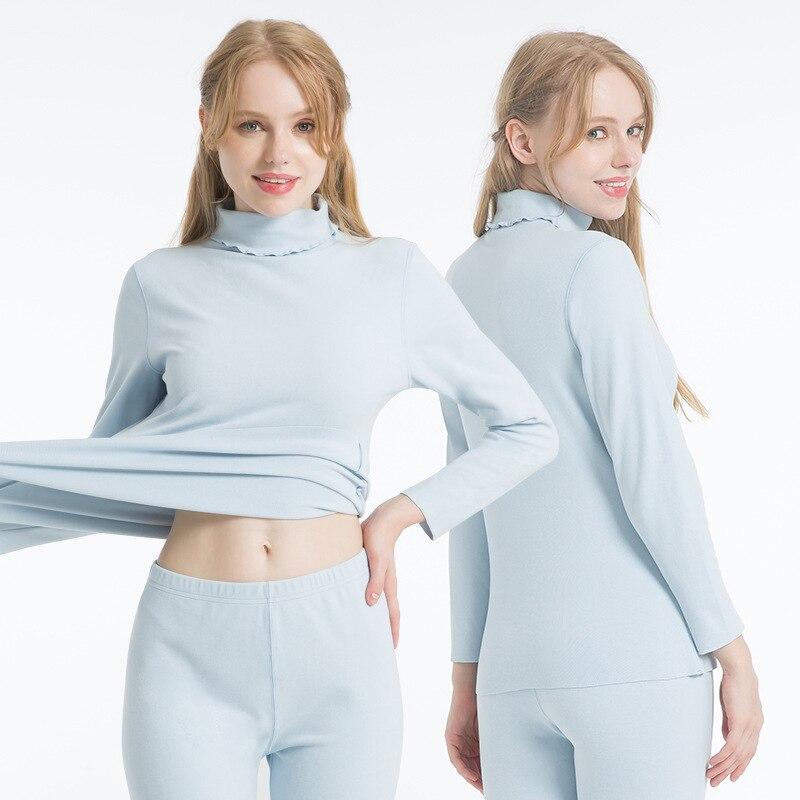Ropa interior térmica de otoño-Invierno para mujer, conjuntos largos sin costuras John, ropa térmica de segunda piel, conjunto de dos piezas para mujer, camisa y pantalones