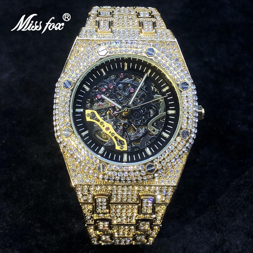 MISSFOX Tourbillon Automatic Men Watches Luxury Full Diamond 18K Gold Mens Wristwatch Hip Hop Ice Out Skeleton Mechanical Watch