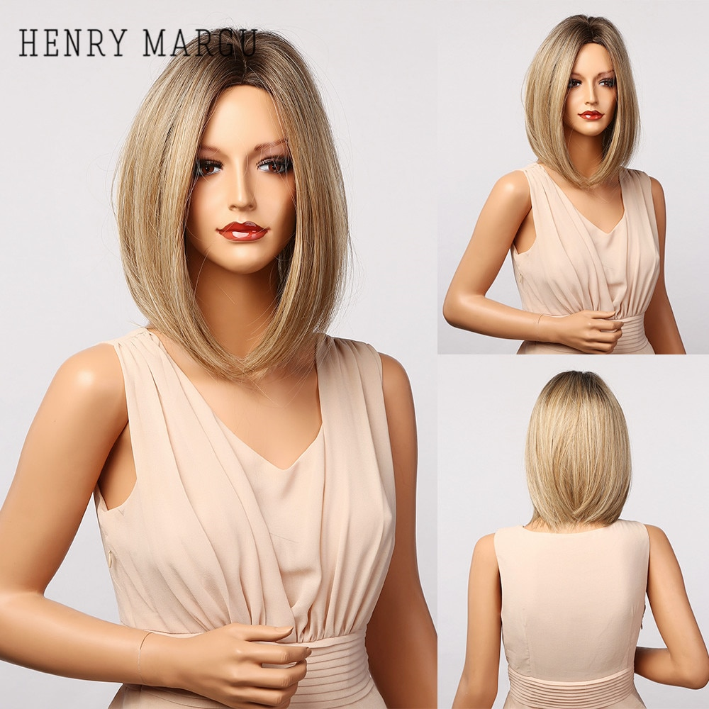 HENRY MARGU Blonde Ombre Bob Wigs For Women Synthetic Straight Hair Wig Natural Daily Party Middle Part Wigs Heat Resistant