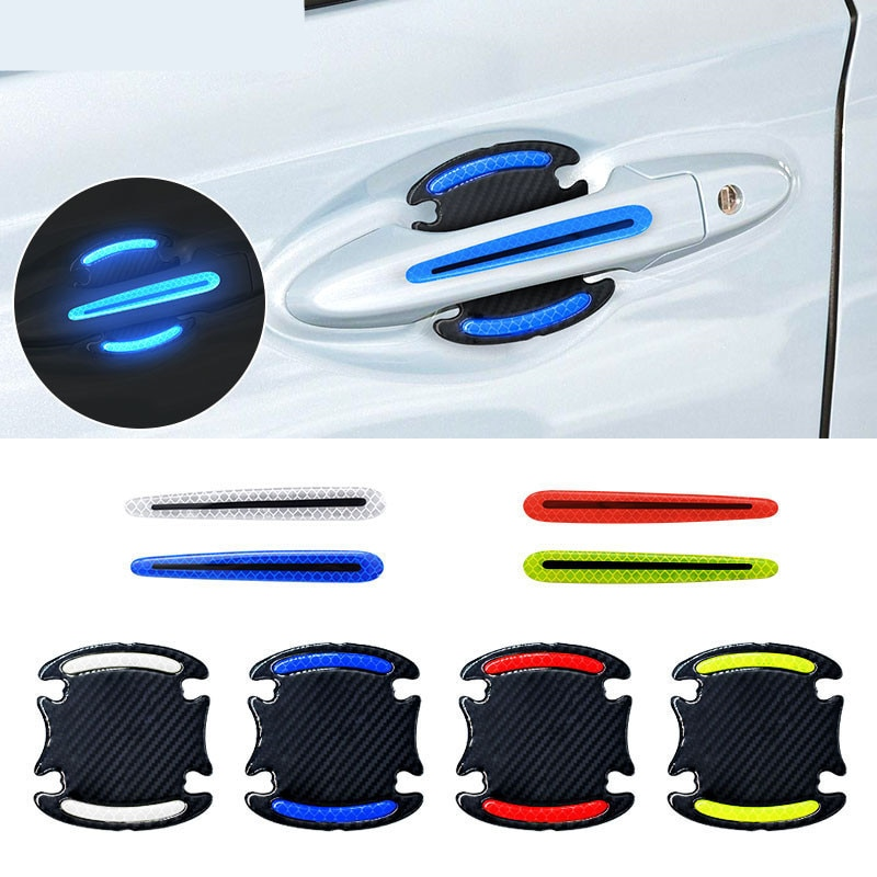 4pcs/set Reflective Car Stickers Universal Safety Warning Strip Door Handle Bowl Cover Sticker Reflector Car Exterior Accessorie