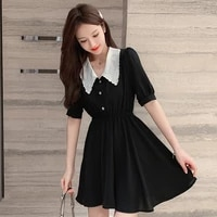 coigarsam french style womens one piece korean summer high waist dresses top black dress 920