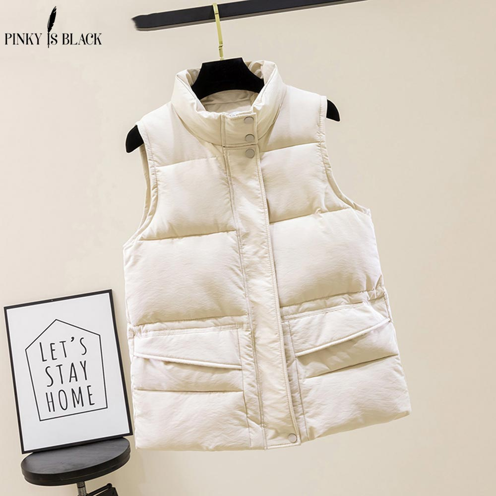 PinkyIsBlack Autumn Vest Chalecos Para Mujer Winter Vest Women Short Vest New Korean Stand Collar Down Cotton Waistcoat Female winter new style ladies stand up collar lightweight down vest casual style down vest women s big pocket fashion solid color vest