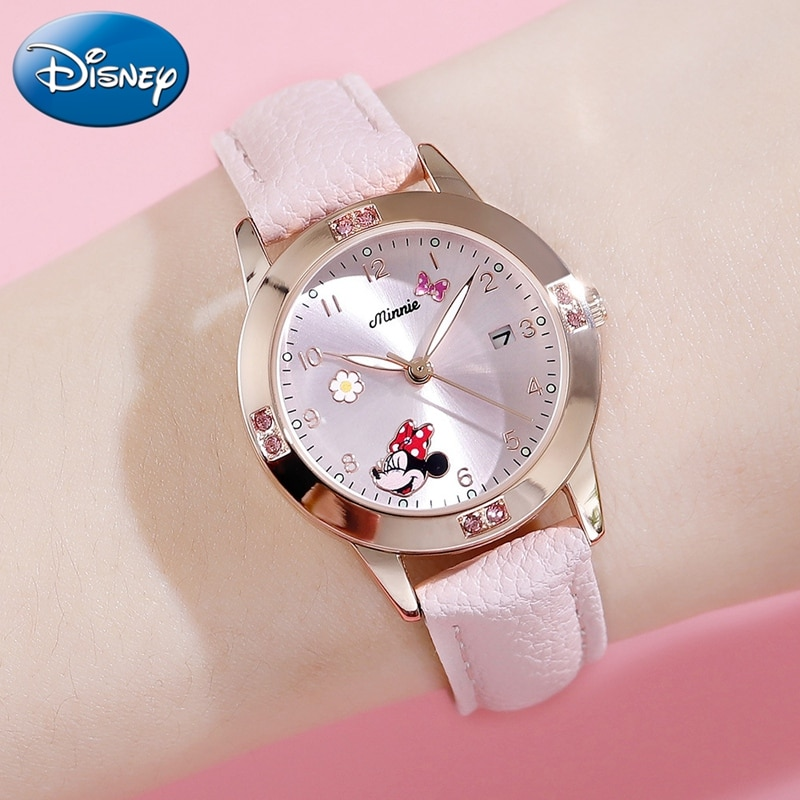 Minnie Mouse Calendar Luxury Bling Crystal Jewelry Cuties Girl Quartz Watches Fashion Ladies Child W