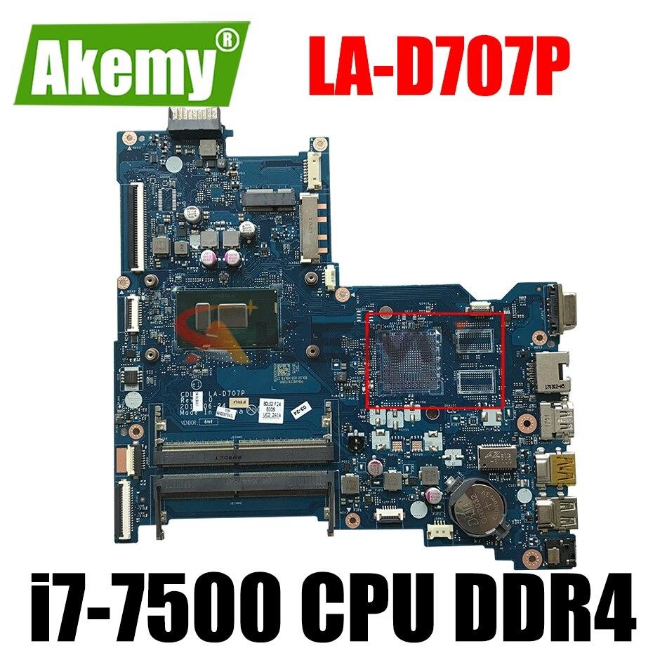 ل HP 15-AY 250 256 G5 اللوحة المحمول 910469-601 910469-001 CDL50 LA-D707P مع SR2ZV i7-7500 CPU DDR4 MB 100% اختبار بالكامل