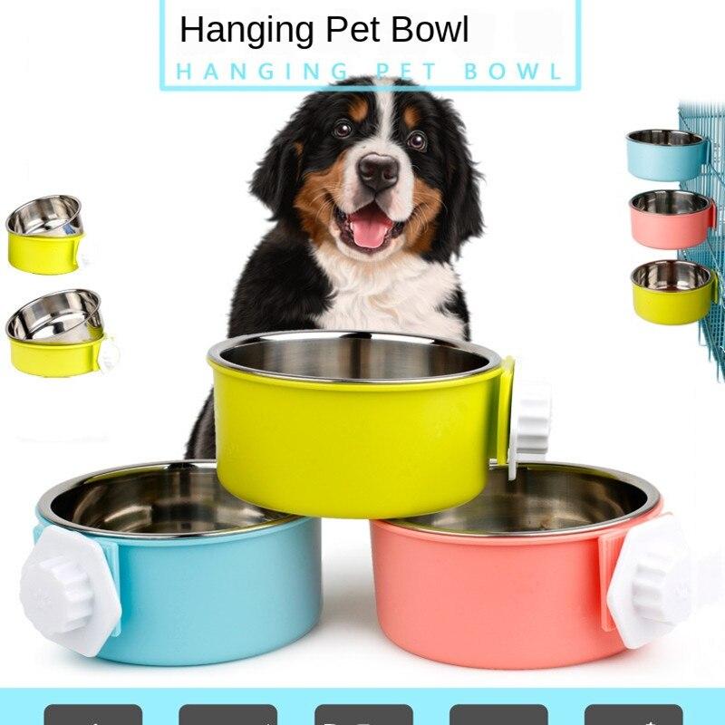 1pcs Explosion pet bowl Feeder cat bowl stainless steel dog bowl hanging fixed cage hanging bowl pet dog rice bowl pet supplies