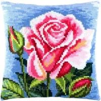 3d latch hook red flower pillow diy cross stitch kit cartoon girl embroidery pattern button package pillow