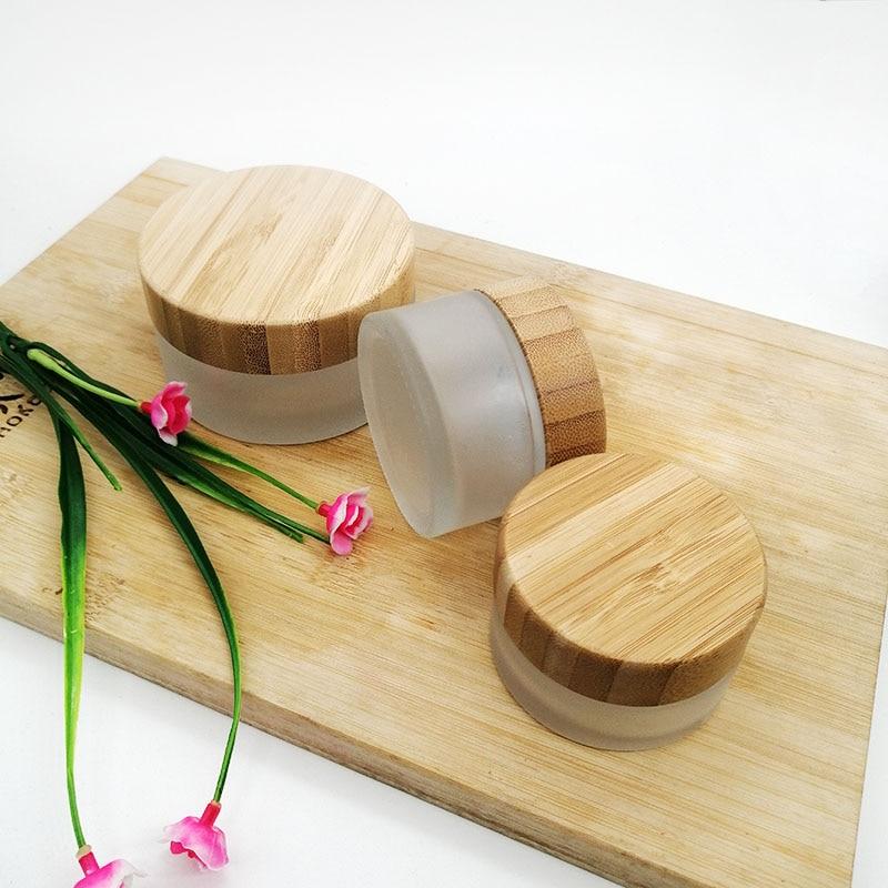 5 uds 30g 50g 100g de frasco de crema de vidrio de madera de bambú de envase de cosmético con tapa contenedor