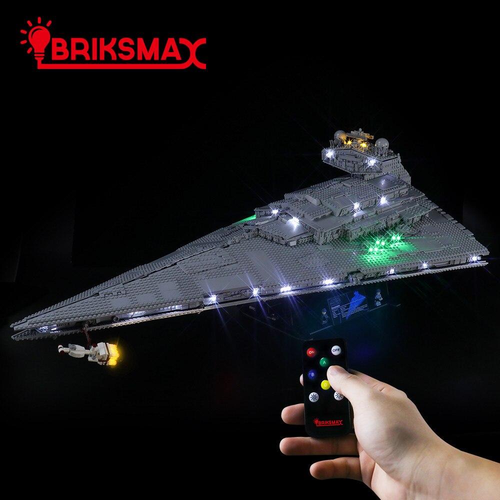 BriksMax-مجموعة إضاءة Led مدمرة النجوم الإمبراطورية ، مجموعة إضاءة 75252 ، جهاز تحكم عن بعد