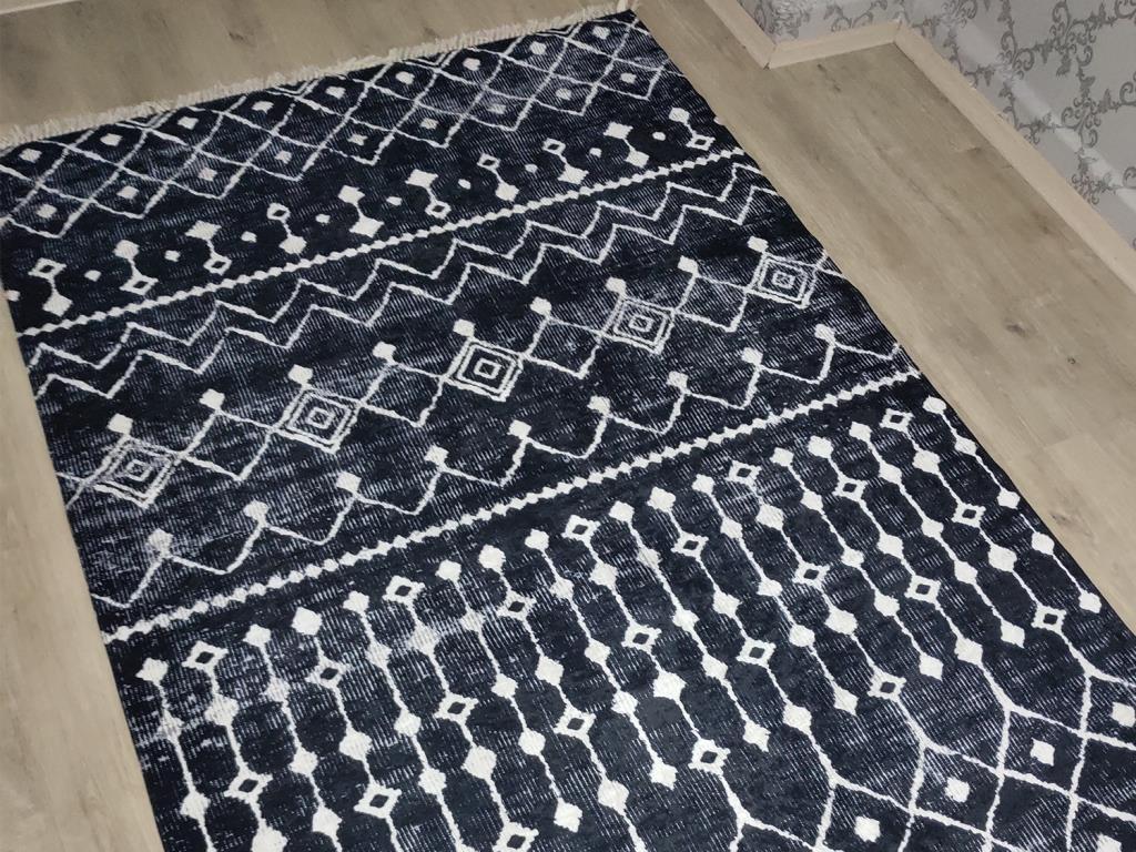 إيما-نعل لاتكس غير قابل للانزلاق ، سجادة مخملية مطبوعة رقمية ، أبيض وأسود ، 120 × 170 سم