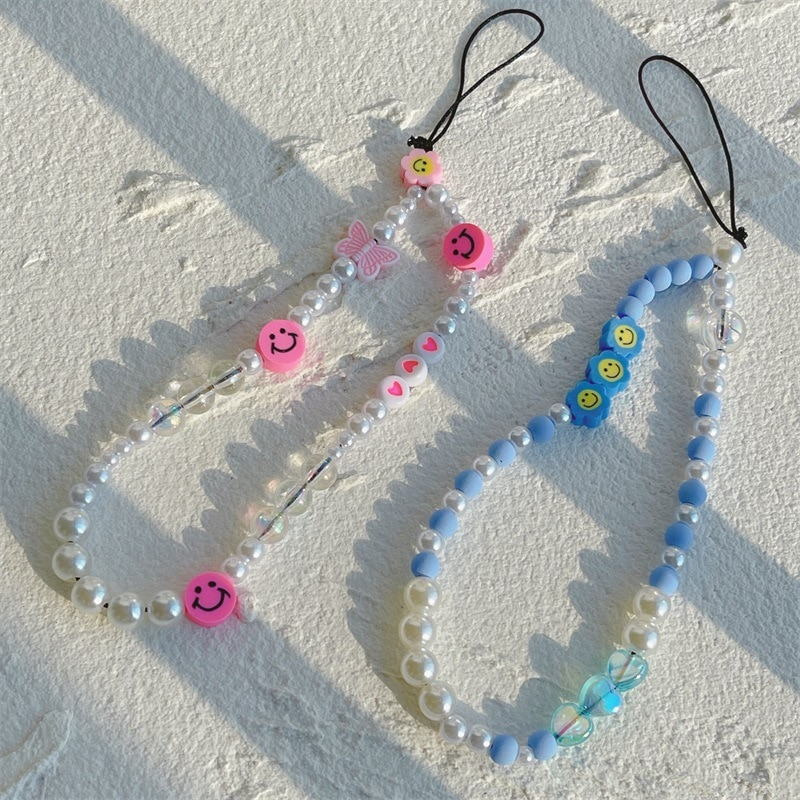 New Colorful Resin Acrylic Beads Soft Pottery Sunflower Phone Lanyard Resin Imitation Pearl for Women Girls Jewelry Gifts