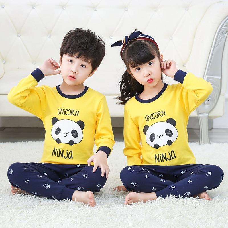 Juego de ropa de pijama para niños de 2020, Pijamas de manga larga con Panda de dibujos animados para niños, Pijamas de otoño para bebés