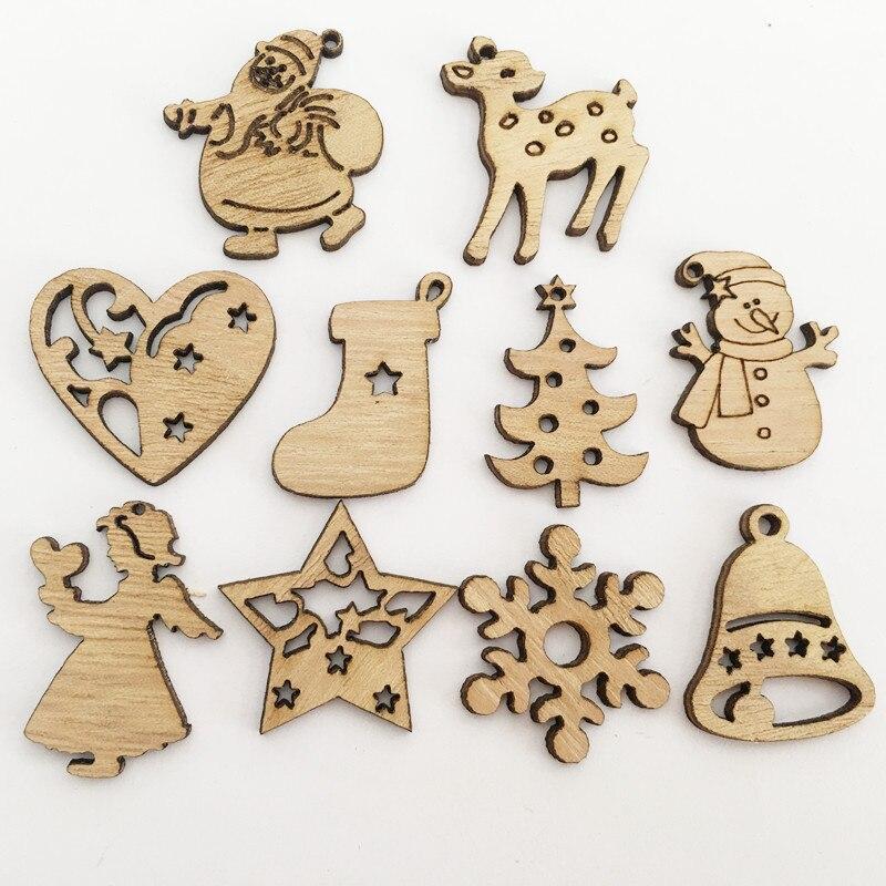 Weihnachten Dekorationen für Home 50/ 100Pcs Holz Santa Claus Weihnachten Baum Deer Neue Jahr Decor Weihnachten Ornamente Navidad Noel