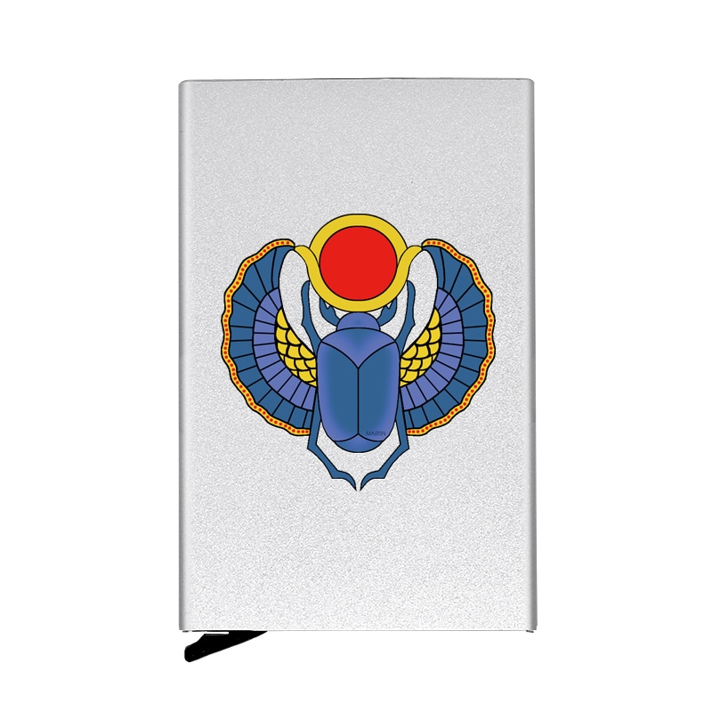 Classic Scarab Design Card Fully Automatic Men Anti Metal Credit Card Holder Wallet Women High Quality Aluminum Case Gift